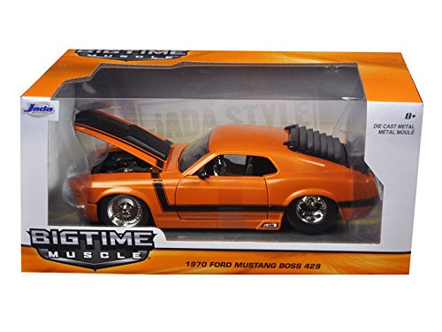 NEW 1:24 W/B JADA TOYS BIG TIME MUSCLE COLLECTION - ORANGE 1970 FORD MUSTANG BOSS 429 Diecast Model Car By Jada Toys