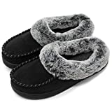 ULTRAIDEAS Women's Comfort Micro Suede Memory Foam Slippers Non Skid House Shoes w/Faux Fur Collar (Large / 9-10 B(M) US, Black)