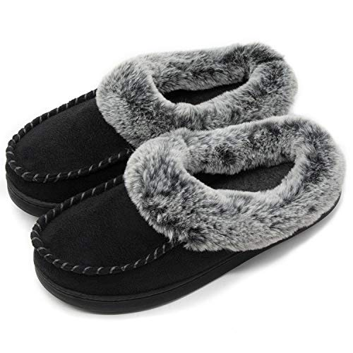ULTRAIDEAS Women's Comfort Micro Suede Memory Foam Slippers Non Skid House Shoes w/Faux Fur Collar (Large / 9-10 B(M) US, Black) by ULTRAIDEAS