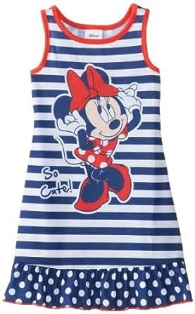 Komar Kids Little Girls'  Minnie Mouse Striped Pajama Short Sleeve Nightgown, Blue, 4T