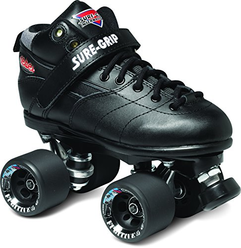 Sure-Grip Rebel Roller Skate Package - black sz Mens 5/Ladies 6 by Sure-Grip