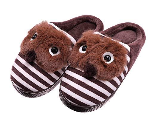 SCOWAY Toddler Kids Boys Girls Slippers Cute Cartoon Animal Soft Warm Non-Slip Winter Indoor House Shoes (2.5-3 M US Big Kid, Brown)