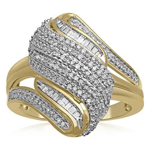 (Jewelili 10K Yellow Gold Baguette And Round Diamond Twist Ring, 1/2cttw. Size 7)