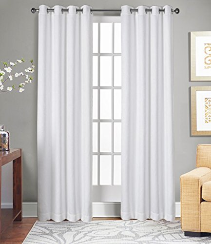 Cheap Curtains for Living Room and Bedroom, Made of 100% Natural Cotton, Eco friendly & Safe, Extra Large White curtains 96 inch long, Window Curtains Set of 2 Panels, Room Darkening Curtains by Tiny Break