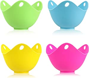 Egg Poacher, Kmeivol Perfect Poached Egg Maker, Non-Stick Poached Eggs Cups, Microwave Egg Poacher, BPA Free Silicone Egg Poacher Cups, Set of 4,  Blue, Green, Yellow, Rose Red