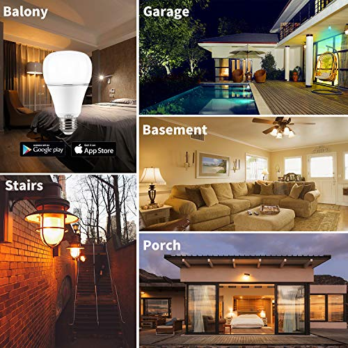 Smart WI-FI LED Light Bulb RGBW Color Changing E26 Base Smart Dimmable Light Bulb Smartphone Controlled Work with Amazon Alexa/ Google Home by LUXON by LUXON (Image #7)'
