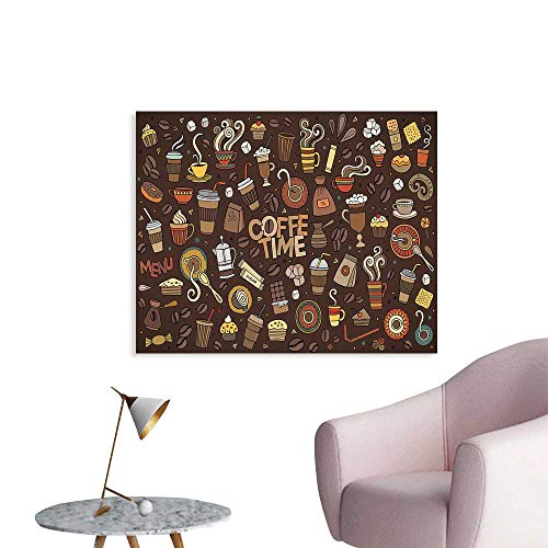 J Chief Sky Coffee Wall Picture Decoration Hand Drawn Cartoon Coffee Time Theme Sweets and Drinks Ornamental Symbols Wall Stickers for Kids Room W24 xL16 (Switch Symbol)