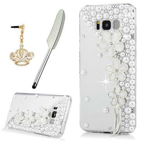 Galaxy S8 Plus Case, YOKIRIN Crystal Clear Transparent Handmade Bling Shiny Crystal Diamond Design PC Hard Shell Full Protective Case Cover for Samsun…