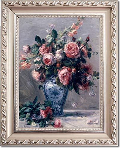 Roses Auguste Pierre Renoir - Ori Gallery Framed Canvas Print - Vase of Roses - by Pierre Auguste Renoir