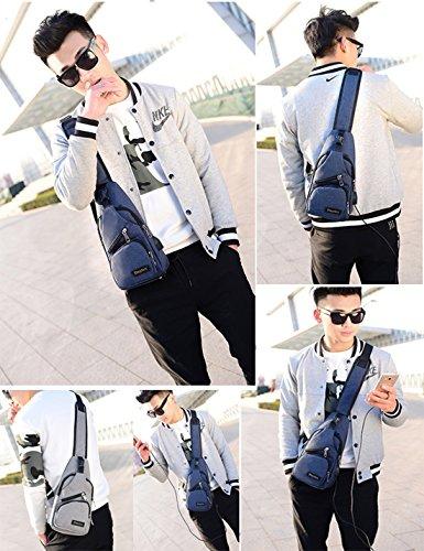 Donna Petto Cross Moderno Nylon Body Gery Tasche Unisex A Super Borsa Più Grande Sul Porta Tracolla Bag Blu Usb Fresco gxw8aq