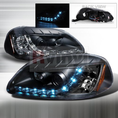 Spec-D Tuning 2LHP-CV96JM-8-TM Honda Civic R8 Style Led Daytime Running Black Projector Head (R8 Style Projector Headlights)