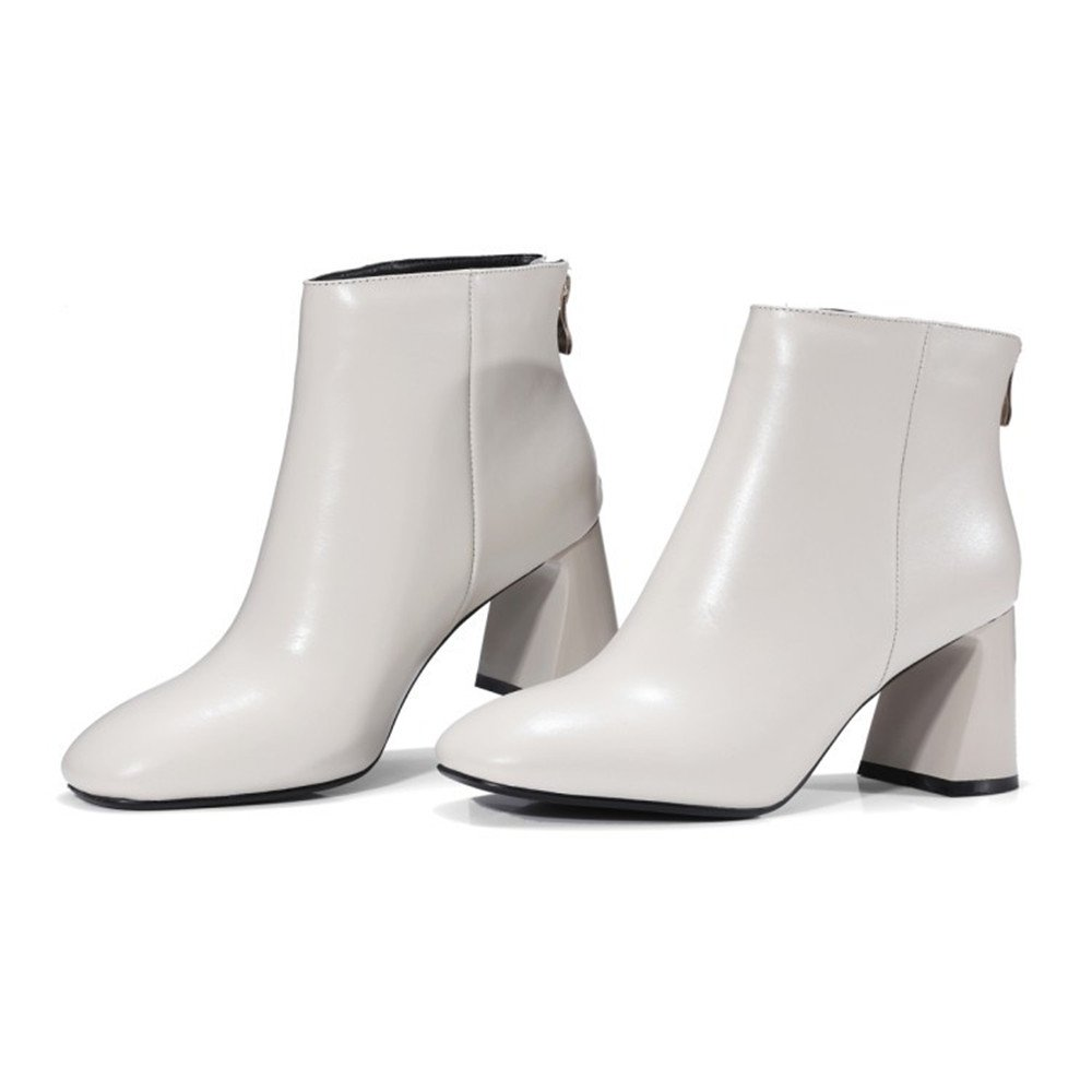 CCBubble Ankle Boots High Heels Genuine Leather 2018 Women Shoes 2018 Leather Shoes Women B078JKRFGG 3 B(M) US|Ivory 9ba19b