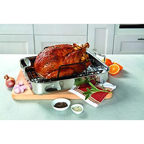 Viking 3-Ply Stainless Steel Roasting Pan with Non-Stick Rack, 16 Inch by 13 Inch