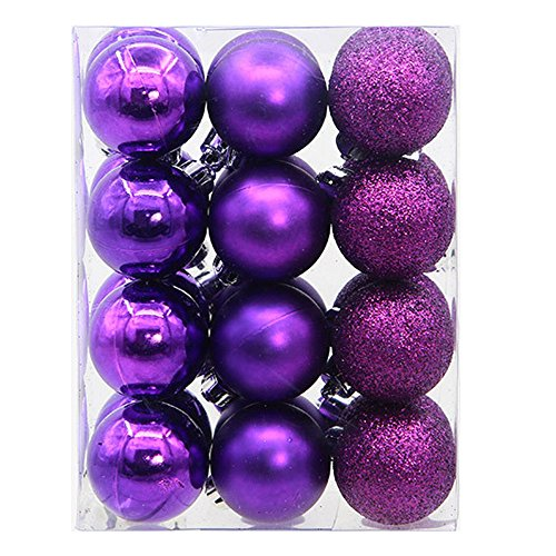 Litetao Shiny and Polished Glossy Christmas Tree Ball Ornaments Decorations 2.4'' - 24 pcs for Wedding Party/Office/Home/Festival (Purple A-Size:9X6X12cm) - Apparel Ornament