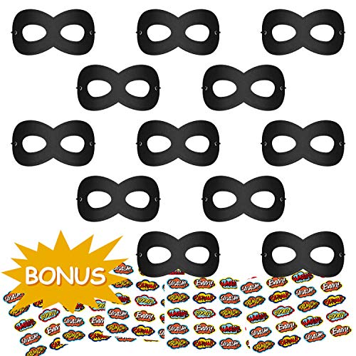 Superhero Masks, Kids Dress Up Mask, Super Hero Masks for Halloween, 12Pcs Black Masks with 100 Stickers