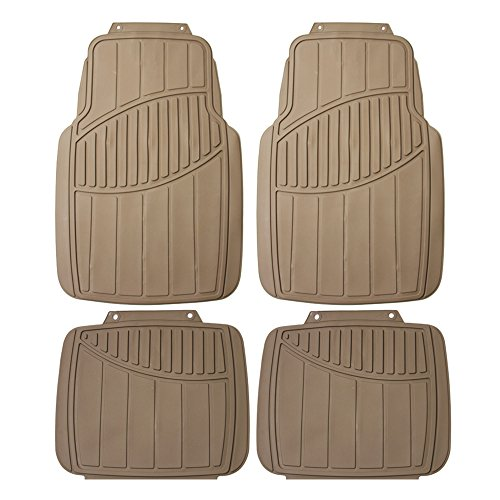 FH Group F11304 Trimmable All Weather Protection Floor Mats, Solid Beige Color