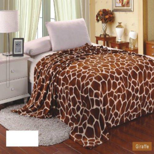 キリン動物印刷毛布寝具Throwフリースフルクイーンスーパーソフト B00V54N7RI