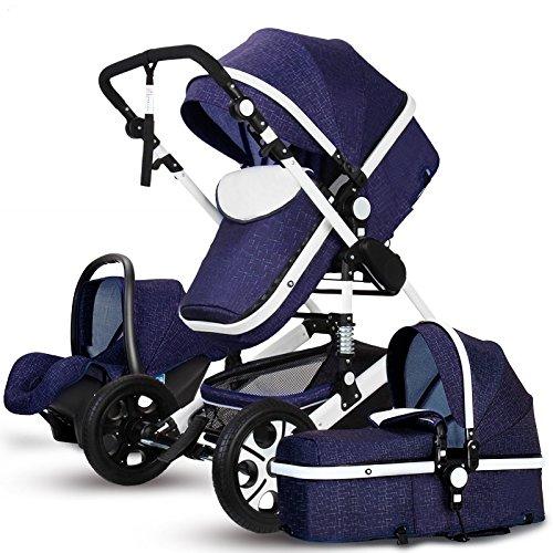 MoreChange Baby Lightweight Stroller Travel System Bassinet Pushchair Folding Pro Waterproof (Dark Blue) (Folding Bassinet Travel)
