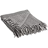 DII California Casual Houndstooth Woven Throw, 50x60, Black
