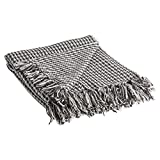 DII Rustic Farmhouse Cotton Houndstooth Blanket Throw with Fringe For Chair, Couch, Picnic, Camping, Beach, & Everyday Use , 50 x 60'' - Mineral