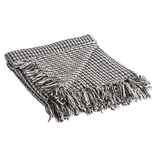 DII Rustic Farmhouse Cotton Houndstooth Blanket Throw with Fringe For Chair, Couch, Picnic, Camping, Beach, & Everyday Use , 50 x 60