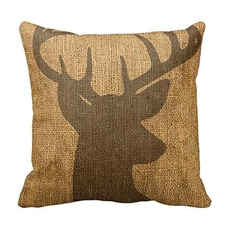 "Rustic Buck Silhouette Throw Pillow Case 18 x 18"" Sofa Decorative Pillow Cover"