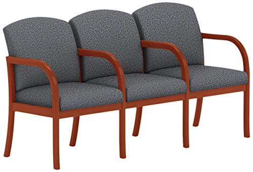 Lesro Weston W3303G5CVTERA 3 Seats Sofa with Center Arms in Cherry Finish, Tendril Raven