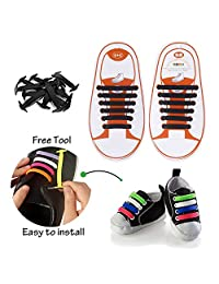 Konsait No-Tie Silicone Elastic Shoe Laces for 12pcs/Kids(Black)