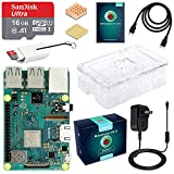 ABOX Raspberry Pi 3 Model B+ (B Plus) Starter Kit (16GB Class 10 SanDisk Micro SD Card, 5V 2.5A on/Off Switch Power Supply, 2 Pcs Heatsinks, Premium Clear Case & HDMI Cable) [Latest Model 2018]