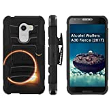 [Mobiflare] Alcatel REVVL A30 Plus 5.5-inch Screen Armor Case [Black/Black] Blitz Dual-Layer Phone Case with Holster - [Solar Eclipse]