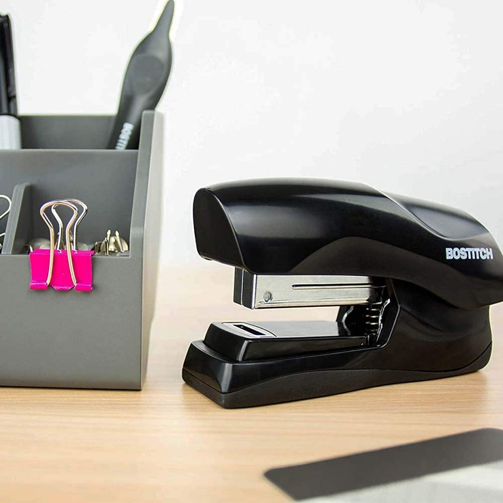 Product Dimensions: 1.69 x 3.75 x 6.85 inches Fits into The Palm of Your Hand; Black Heavy Duty 40 Sheet Stapler Small Stapler Size