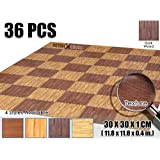Activecrosss New 36 Pieces Deep Wood Mats Interlocking Foam Tiles Anti-fatigue Exercise and Fitness Gym Foam Floor Mat 30 X 30 X 1 cm (11.8 X 11.8 X 0.4 in) Dark Wood AC1120