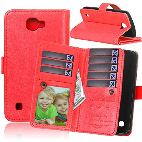 LG Ultimate 2 Case LG L41C Ultimate 2 Wallet Case,Bat King [Multi Card Wallet] Premium Magnetic PU Leather Wallet with Built-in 9 Card Slots Folio Flip Case for LG L41C Ultimate 2(Red)