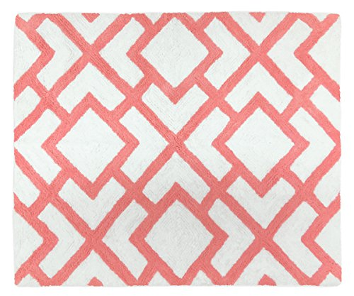 Sweet Jojo Designs Modern White and Coral Diamond Geometric Girls Accent Floor Rug Bedroom Decor (Colored Rugs Coral)