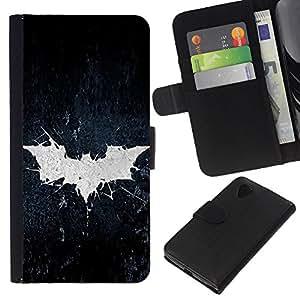 A-type (Grunge Bat sesión) Colorida Impresión Funda Cuero Monedero Caja Bolsa Cubierta Caja Piel Card Slots Para LG Nexus 5 D820 D821