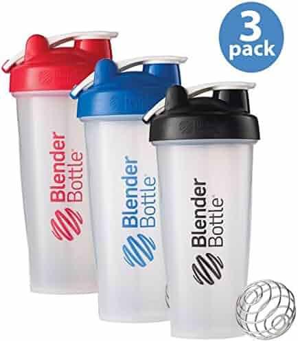 BlenderBottle 3-Pack Water Bottle of 28oz, Blue/Black/Red, 28 ounce
