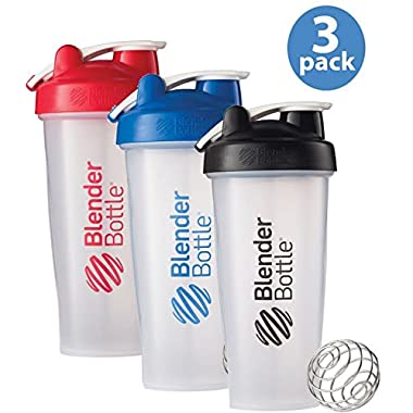 BlenderBottle 3-Pack Water Bottle of 28oz, Blue/Black/Red, 28 ounce