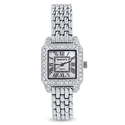 (Gemorie Women Fashion Square Shape Cubic Zirconia Watch with Steel Band in Rhodium Plating (129100))