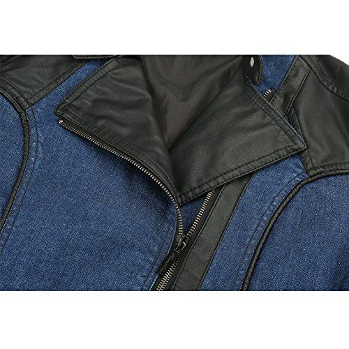 Newbestyle Kapuzen Kunstleder Damen Jacke mit Reißverschluss Motorradjacke Bikerjacke Kapuzenjacke Übergangsjacke Ladies Oberbekleidung (Normale EU-Größe) Blau eMzae0bXH