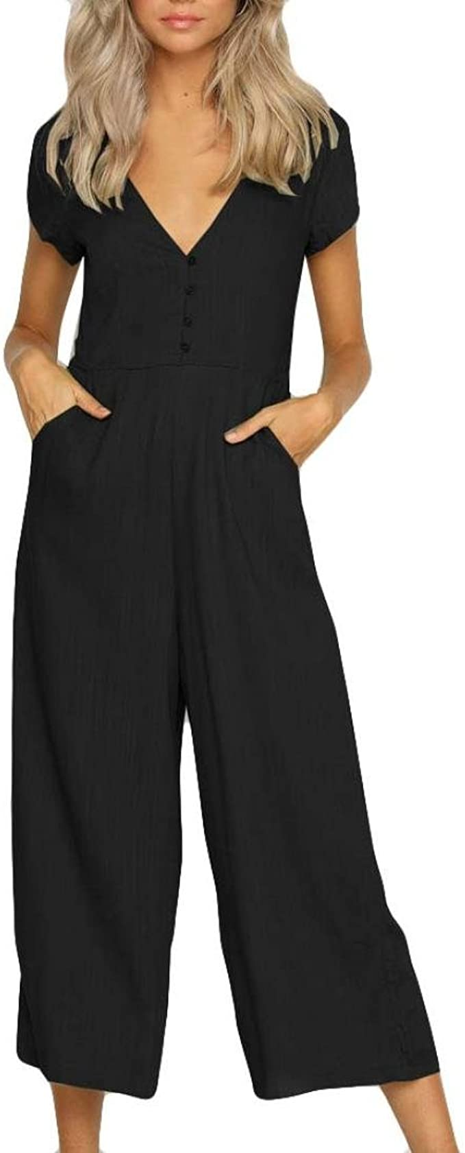Suvimuga Women Jumpsuits Summer Sleeveless Tie Waist Pocket Long Pants Rompers