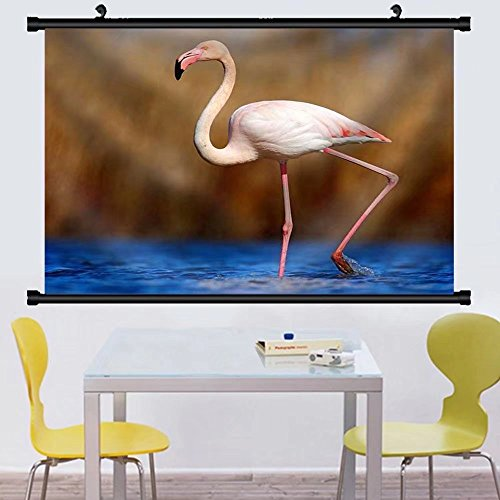 Greater Flamingo Tapestry (Gzhihine Wall Scroll Greater Flamingo Phoenicopterus ruber pink big beautiful bird dark blue water Fabric Wall Home Decor 24