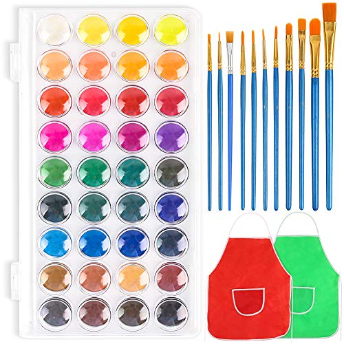 3 otters 36 Colors Watercolor Paint, Kids Painting Drawing Tools with 11 Brushes Kit Water Color Paints Sets for Kids Perfect for Kids, Adults and Beginner Artists.