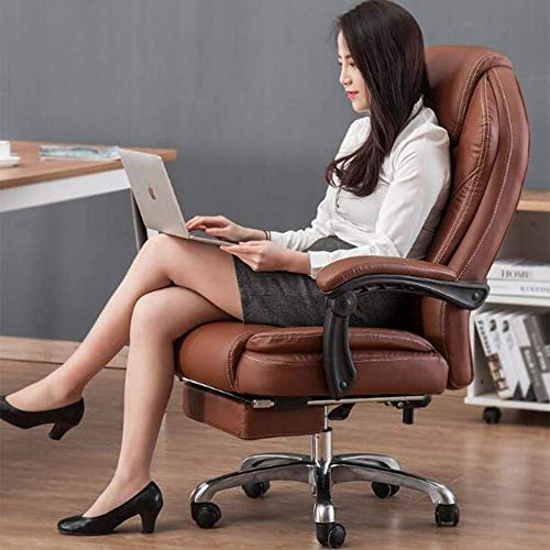 WXF Chairs Office Swivel, Gaming Leather Recliner Tilt Napping with Footrest Height Adjustable Executive Desk Computer Chair (Color : Brown)