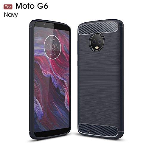 Moto G6 Case, YMH Shock-Absorption Armor TPU Raised Bezels Anti-Slip Protective Case Cover for Motorola Moto G6 / Moto G (6th Generation) (Navy) (Motorola Moto G Best Price)