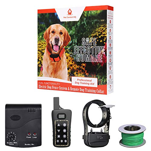 2-in-1 Remote Wireless Dog Training Collar and Electric Fence | Safely Train and Contain Dogs with Under or Above Ground Wire Boundary | Humane Off Leash & Anti Bark Behavior For Small and Large Dogs