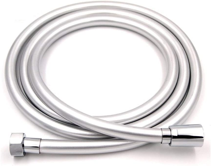 Zengest PVC Smooth Shower Hose 59 Inches, Flexible Anti-Kink Handheld Shower Head Hose with Brass Connections, Silver