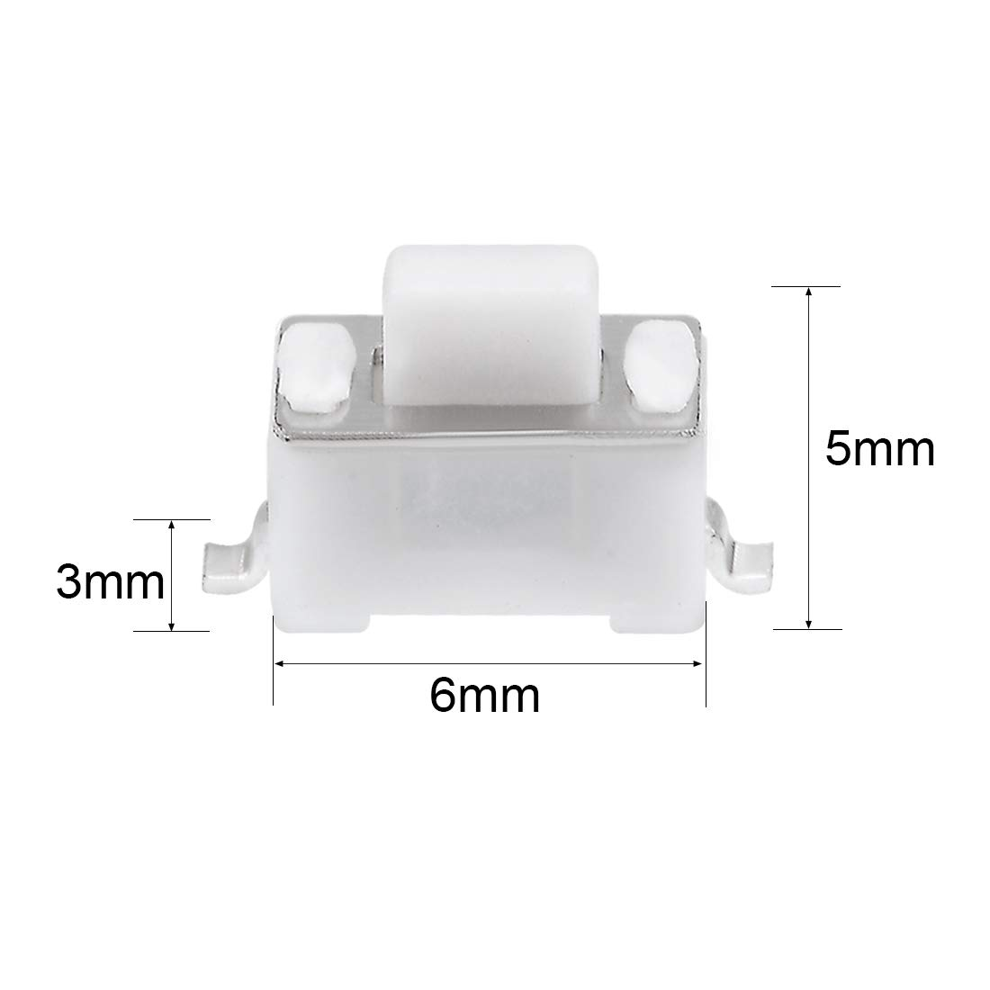 uxcell 3x6x4mm Momentary PCB SMT SMD Rectangle Push Button SPST Tactile Tact Switch White 20PCS