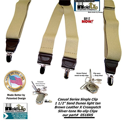 Holdup Suspender Company's Sand Dunes Tan Casual Series X-back Suspenders with Silver-tone No-slip Clips by Hold-Up Suspender Co. (Image #7)