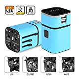 fosa Worldwide Travel Converter,the Best All-in-One Universal International Plug [US UK EU AU] with Dual USB Charging Ports 8 Holes Socket for Cell Phones, iPhone, iPAD, Power Bank, GPS, Cam(Blue)