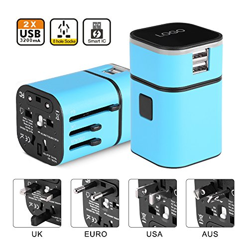 fosa Worldwide Travel Converter,the Best All-in-One Universal International Plug [US UK EU AU] with Dual USB Charging Ports 8 Holes Socket for Cell Phones, iPhone, iPAD, Power Bank, GPS, Cam(Blue) by fosa